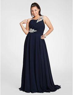 plus size navy dress | Navy One Shoulder A-line Chiffon Plus Size Prom Dresses/ Dress For ...