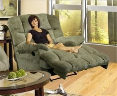 Jackpot Reclining Chaise in Sage Microfiber Fabric by Catnapper - 3989 on Sale for $599