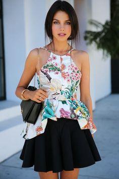 Fantastic skirt with printed peplum top. fantast skirt, peplum top