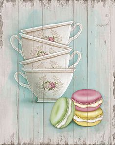 Tea cups and macaroons