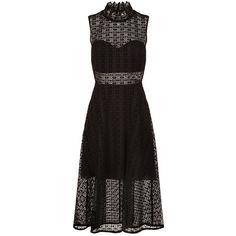 Sandro Lace Midi Dress ($205) ❤ liked on Polyvore featuring dresses, fit flare dress, midi dress, formal midi dress, formal dresses and high neck formal dresses