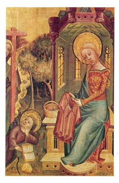 """Bertram of Minden, """"Knitting Madonna"""", (detail of Annunciation from the right wing of the Buxtehude Altar) 1400-1410."""