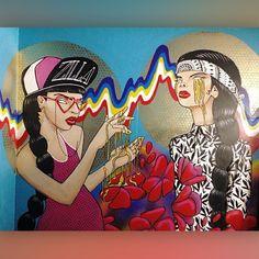 "KAZILLA @kazillathevanillagorilla It's a wrap! This years wall for #artbeatsandlyrics I'm calling ""honey jacked""."
