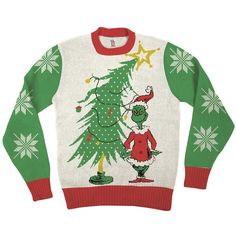 Grinch As Santa Ugly Christmas Sweater ❤ liked on Polyvore featuring tops, sweaters, ugly christmas sweater, white sweater, white top, ugly holiday sweaters and ugly sweater