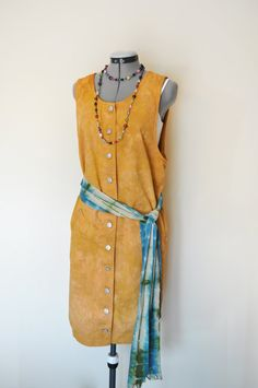 """Autumn Gold Dyed Repurposed Cotton Dress with Blue Green Dyed Cotton Scarf with a """"Goes with Everything"""" Beaded Necklace!"""