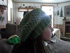 Crochet Slouchy Hat .  Can be made in 1 -2 hours.  Free Pattern