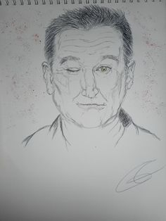 Portrait Robin Williams (bic, pastels secs)