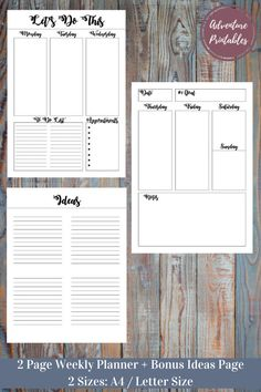 Weakly PDF Printable Planners With Bonus Ideas Page, Personal Planner, Business Planner, Productivity, Life, 2 Sizes: A4/ Letter Size  Make you days easier with this amazing daily and weekly planner pack!  WHATS INCLUDED:  ► Weekly PDF Printable Planner ► Bonus Matching Ideas Page ► 2 Sizes: A4 and Letter Size   Visit The Shop: https://www.etsy.com/shop/AdventurePrintables ------------------------------------------------------------------------------------------------...