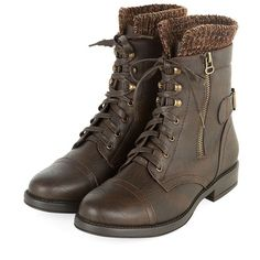 Dark Brown Knit Cuff Lace Up Biker Boots (€14) ❤ liked on Polyvore featuring shoes, boots, botas, knit cuff boots, cuffed boots, buckle boots, lace up block heel boots and dark brown lace up boots
