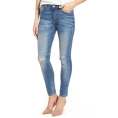 Women's Mavi Jeans Lucy Ripped Skinny Jeans ($118) ❤ liked on Polyvore featuring jeans, lucy foggy ripped, high rise skinny jeans, skinny jeans, high waisted blue jeans, blue jeans and destroyed skinny jeans