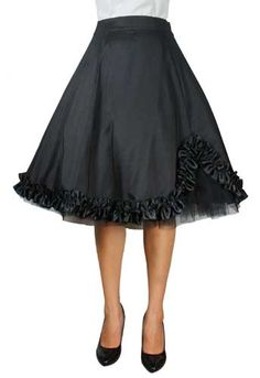 Plus Size Black Satin Gothic Ruffled Skirt [60220] - $35.95 : Mystic Crypt, the most unique, hard to find items at ghoulishly great prices!