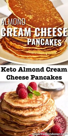 Dec 2019 - These Keto pancakes are such a treat! Made with almond flour and cream cheese, they taste as close to the real thing as you can get. This easy sugar free and low carb breakfast recipe is one of the most popular posts on Sugar Free Londoner! Keto Cream Cheese Pancakes, Best Keto Pancakes, Almond Flour Pancakes, Low Carb Pancakes, Almond Flour Recipes, Low Carb Breakfast, Breakfast Recipes, Dessert Recipes, Breakfast Gravy