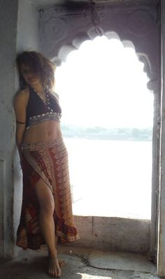 Tribal Belly Dance style bra top and long ruffle skirt. Upcycled Silk Sari, Barocco Tribal.com
