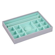 STACKERS Classic Dove Grey & Mint Green Charm Stacker Jewellery Box
