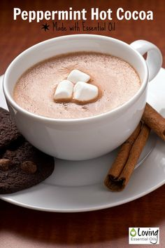 Peppermint Hot Cocoa Made with Essential Oil | Loving Essential Oils http://www.lovingessentialoils.com/blogs/diy-recipes/69385027-peppermint-hot-cocoa-made-with-essential-oil Simple Hot Chocolate recipe with peppermint essential oil is perfect on a cold night!