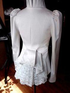 White Jacket Ruffle Collar One Button Ruffle Back For Batik Fashion, Ruffle Collar, Gothic Outfits, Corsets, Victorian Fashion, Blouse Designs, Mantel, Blazers, African Fashion