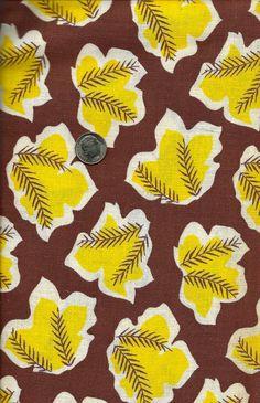 Vintage Novelty  FEEDSACK Flour Sack  Cotton Fabric -  Sunshine Yellow Leaves on Brown Backgroud - 36 x 44