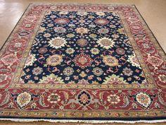 8 X 10 Persian Heriz Serapi Style Hand Knotted Wool New Navy Rust Oriental Rug