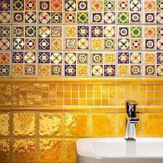 Bathroom - Quartet - Tubądzin - płytki ceramiczne, glazura dla ekskluzywnej łazienki en Bath Tiles, Mosaic Tiles, Yellow Baths, Bathroom Inspiration, Tile Floor, Bubbles, New Homes, House Design, Holiday Decor