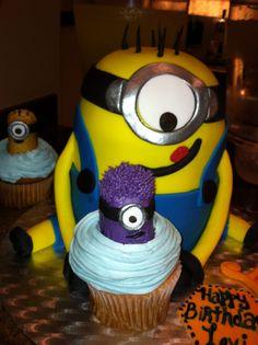 Levi's 1st bday cake: Zeapod Cakery in Houston Texas minion cake  minion cupcake purple minion