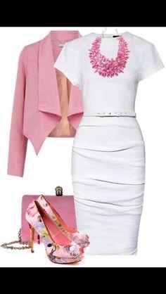 Pink & white women's fashion outfit idea