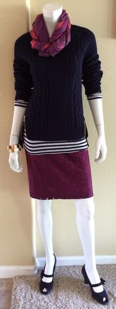 Daily Look: #CAbiClothing #FallFashion Frolic Skirt, Zipper Sweater and Bisou Scarf with our vintage Deckhand Shirt and pumps.