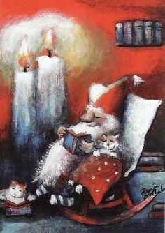 Snug as a bug in a rug.  All is warm and well. artist Raija Nokkala