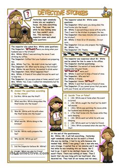 Detective Stories worksheet - Free ESL printable worksheets made by teachers Lots of really great stuff on this site. English Story, English Grammar, Teaching English, Learn English, Preterit Anglais, Detective, Reading Comprehension Activities, English Reading, English Activities