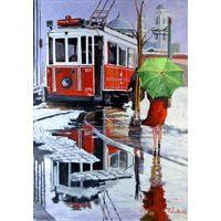 Türk ressamlardan Kerim Yavuz a ait orjinal el yapımı imzalı hediye dekoratif yağlıboya kırmızı şemsiye ile istanbul istiklal caddesinde yağmurlu bir günde tramvay ile yürüyüş temalı Taksim' de Tramvay tablosu / original modern decorative oil painting art