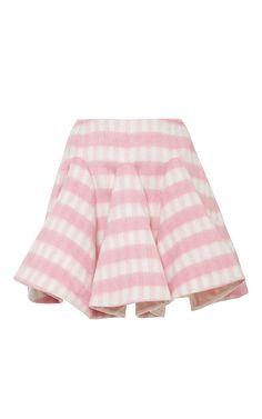 Pink Parini Wool Check Mini Skirt  by VIVETTA