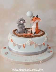 Fox and Raccoon christening cake by Lulubelle's Bakes
