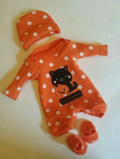 """HALLOWEEN OOAK Sculpted Baby Doll Clothes Bodysuit Cap TINY Mini Reborn 8-9"""""""