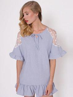 Dahlia Mariska Blue Ticking Stripe Seersucker Dress with Lace Inserts at Shoulders Seersucker Dress, Ticking Stripe, Lace Insert, Ss16, Lace Dress, Style Inspiration, Dahlia, Shoulder, Blue