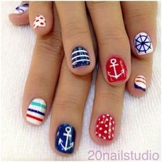There are three kinds of fake nails which all come from the family of plastics. Acrylic nails are a liquid and powder mix. They are mixed in front of you and then they are brushed onto your nails and shaped. These nails are air dried. Love Nails, How To Do Nails, Pretty Nails, Fun Nails, Anchor Nail Designs, Cute Nail Designs, Nautical Nail Designs, Toe Designs, Colorful Nail Art