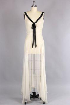 Chiffon bias cut gown, 1930s.