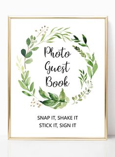 Garden wedding photo guest book sign printable, greenery polaroid guest book sign, green wreath wedding sign printables from Pink Summer Designs on Etsy