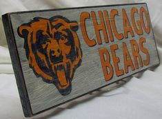 Chicago Bears wall sign distressed by Route66VintageSigns on Etsy, $25.00