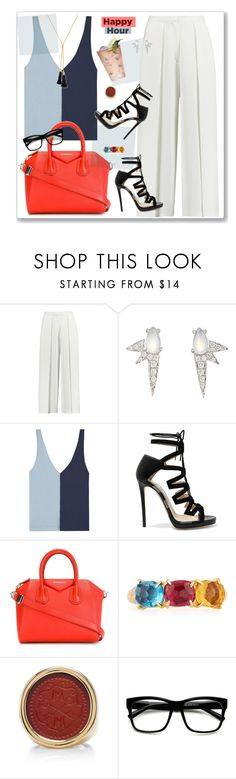 """Happy Hour"" by nantucketteabook ❤ liked on Polyvore featuring Iris & Ink, Finn, Staud, Jimmy Choo, Givenchy, Margarita, Marco Bicego, ASHA, ZeroUV and Lele Sadoughi"