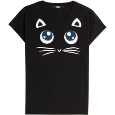 Karl Lagerfeld Choupette Big Eyes Printed Cotton T-Shirt ($99) ❤ liked on Polyvore featuring tops, t-shirts, black, black top, black cotton t shirt, karl lagerfeld, round neck t shirt and black cat tee