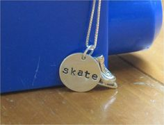 Ice skating necklace with hand stamped skate by WhatCoolMomsWant, $34.00