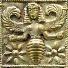 """Bee Goddess plaque from Rhodes """" Melissa """" means """"bee"""" in Greek, and to the Ancients, a melissa was a priestess of the Goddess. Ancient Goddesses, Gods And Goddesses, Animal Totem Meanings, Big Bee, I Love Bees, Sacred Feminine, Divine Feminine, Minoan, Bee Art"""