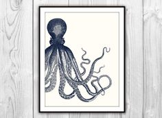Offset Octopus Nautical Art Print  Sea Life Beach by BySamantha, $6.00