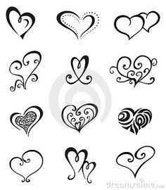 Elementos decorativos del vector en forma de corazón para el diseño o el tatuaje.                                                                                                                                                     Más