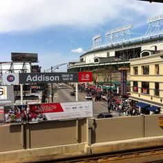 View of Wrigley Field from the CTA Addison Red Line station.