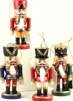 """Group of 4 Nutcrackers in various colors 4"""" Wooden Christmas Ornaments NEW"""