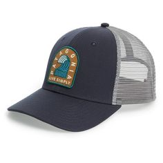Patagonia 'Breaker Badge' Trucker Hat ($29) ❤ liked on Polyvore featuring men's fashion, men's accessories, men's hats, navy blue, mens trucker hats, mens hats and mens trucker caps