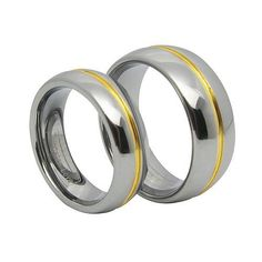 Fashion Matching Two Tone Lovers Gold Groove Inset Tungsten Carbide Rings 8mm (Size 8, 9, 10, 11, 12) His & 6mm (Size 6, 7, 8) Hers Set Aniversary/engagement/wedding Bands. Please E-mail Sizes Tungsten Love. Save 40 Off!. $39.99. Fashion Matching Two Tone Mens Gold Groove Inset Tungsten Carbide Wedding Rings. Ring Size: Men's 8, 9, 10, 11 and 12; Ladies' 6, 7 and 8 selectable. ****PLEASE EMAIL US YOUR RING SIZES AFTER PURCHASE, THANK YOU!****. Thickness: 2.3 to 2.5mm, Width: Men'...