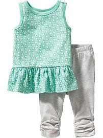 Patterned Tunic and Legging Sets for Baby