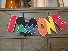 Mickey Mouse Clubhouse I AM One High Chair Banner, Mickey I Am One, Red, Green, Blue, Yellow, Orange, Mickey's Clubhouse, Mickey Birthday by ThePaperieAttic on Etsy https://www.etsy.com/listing/254105571/mickey-mouse-clubhouse-i-am-one-high