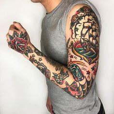 Rad work done by @needles_tattooing________________________________#tattoo #tattoos #traditionaltattoo #americantraditionaltattoo #radtrad #ink #inked #traditional #art #artist #tattooartist #tattooed #tattooart #traditionaltattooing #oldschool #oldschooltattoo #traditionaltattoos   Artist: @rad_trad_tattoo